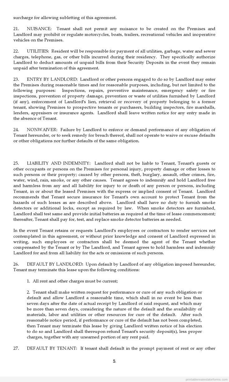 Sample Printable Lease Agreement Form