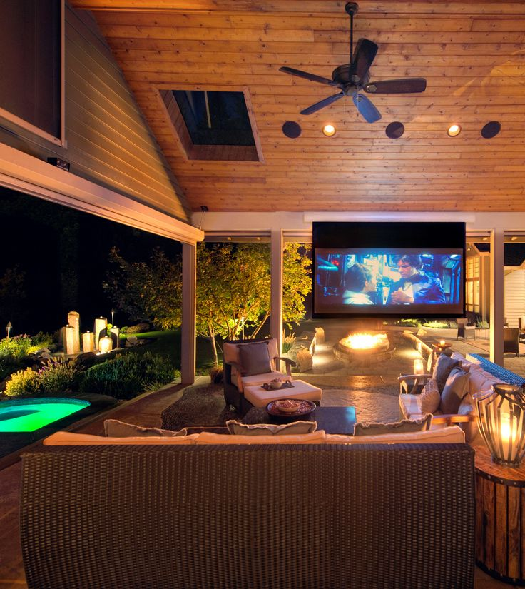 Screen lowers from ceiling for movies and TV! http://www.paradiserestored.com/portfolio_item/reser-2016/