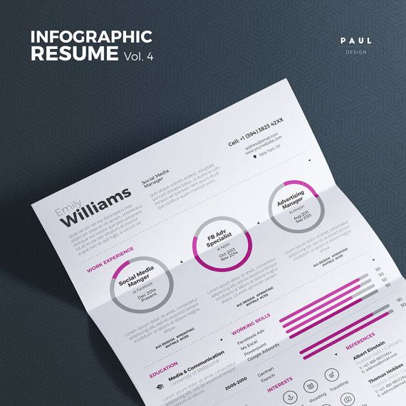 #Infographic #Resume Vol. 4  #Word and #Indesign #Template by #TheResumeCreator