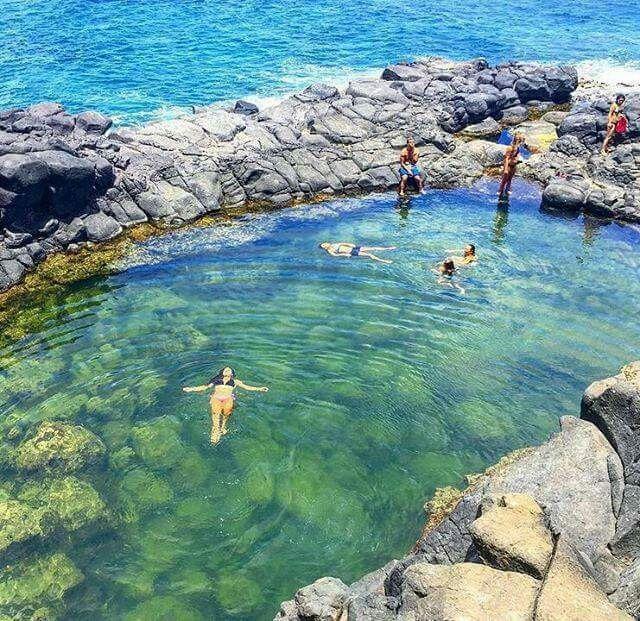 The Queen's Bath - A natural tide pool, Kaua'i, Hawaii.