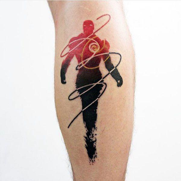 Ironman Unique Male Small Leg Calf Tattoos