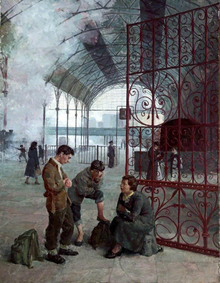Woodside Station, Birkenhead, 1954 by Geoff Yeomans (British b. 1934)