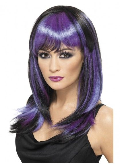Black and Purple Glamour Witch Wig
