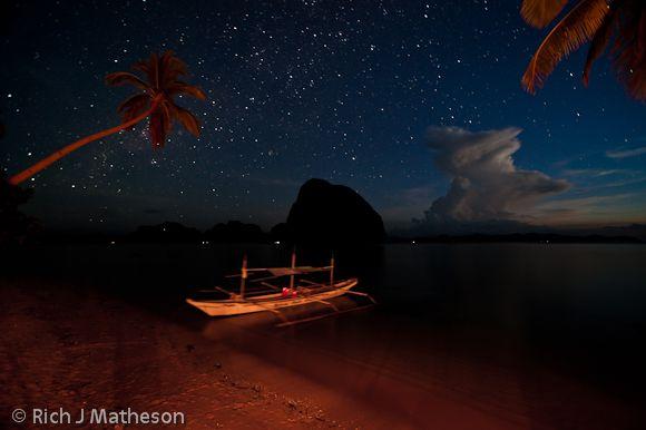 Pontoon Boat at night, Coron, Palawan Island, Philippines