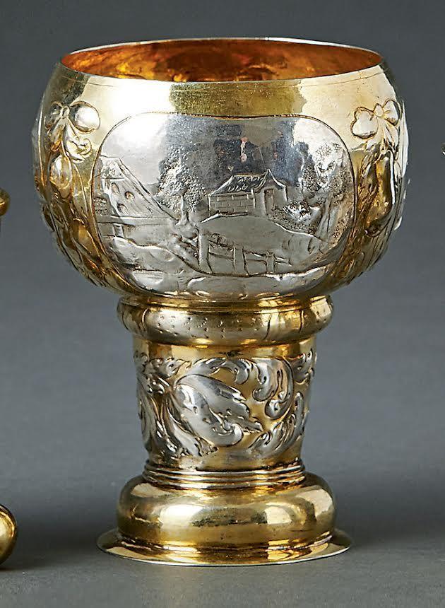 A silver-gilt Roemer. prob. the mark of Hans Leonard Wolff (Master, 1672/73-1709). Nueremberg, 1690. H. 11.8cm. Start price: 4,500 Euro.