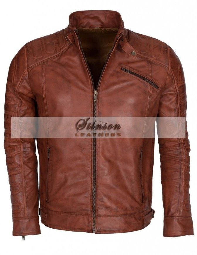 Men Vintage Style Biker Brown Leather Jacket Sale in UK  http://www.stinsonleathers.co.uk/product/mens-vintage-brown-biker-leather-jacket/