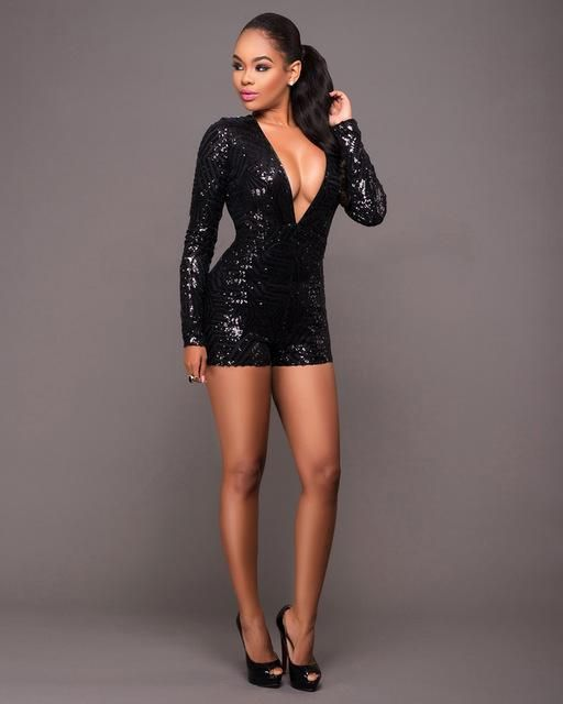 01dcfc7188 Beyprern Sexy Deep V Neck Long Sleeve Sequin Rompers Womens Sexy ...