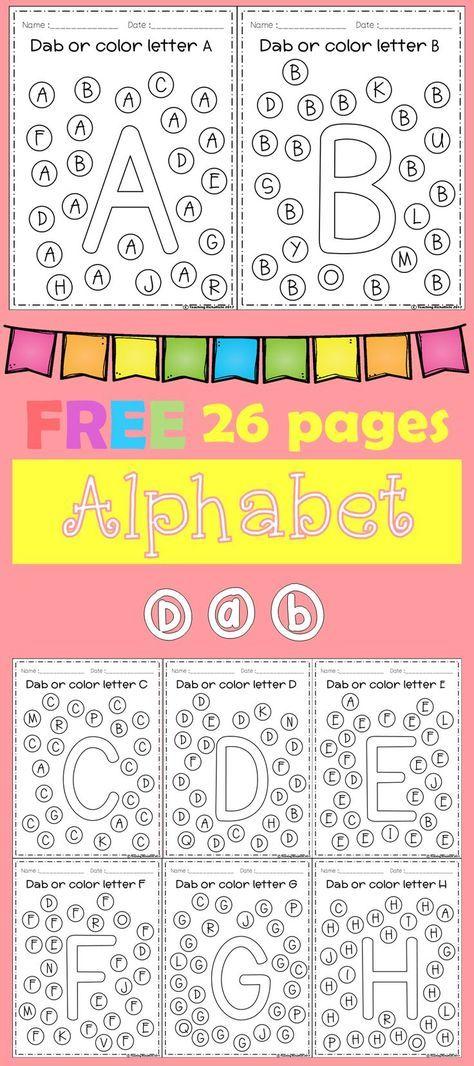 FREE Freebies Alphabet Dap A-Z 26 pages. For PreK and Kindergarten.