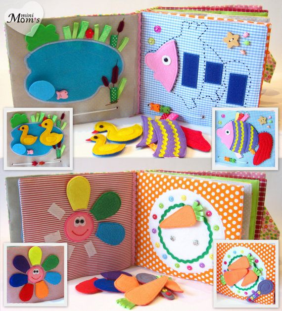 Children's Quiet Book Busy Book Eco friendly by MiniMoms on Etsy (I like the flower with flower petals idea)