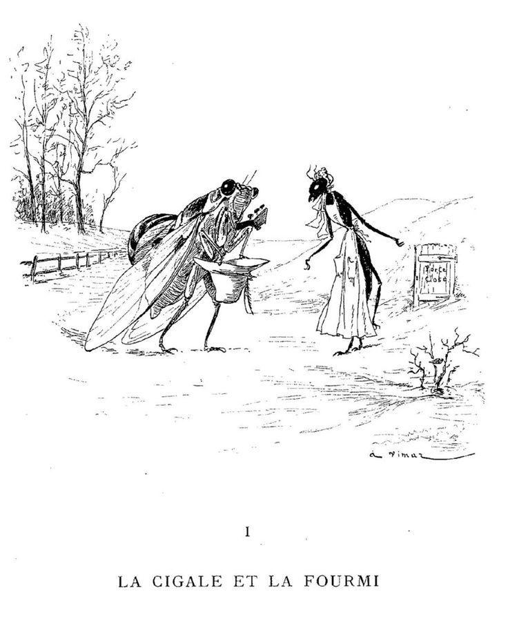 Illustration La Cigale Et La Fourmi : illustration, cigale, fourmi, Créatif, Cigale, Fourmi, Pictures, Fourmis, Dessin,, Cigale,