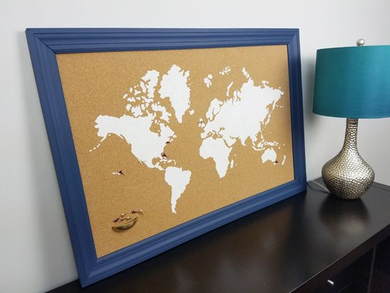 415 best stenciled canvas wall art images on pinterest a diy stenciled cork board using the world map wall art stencil from cutting edge stencils gumiabroncs Images