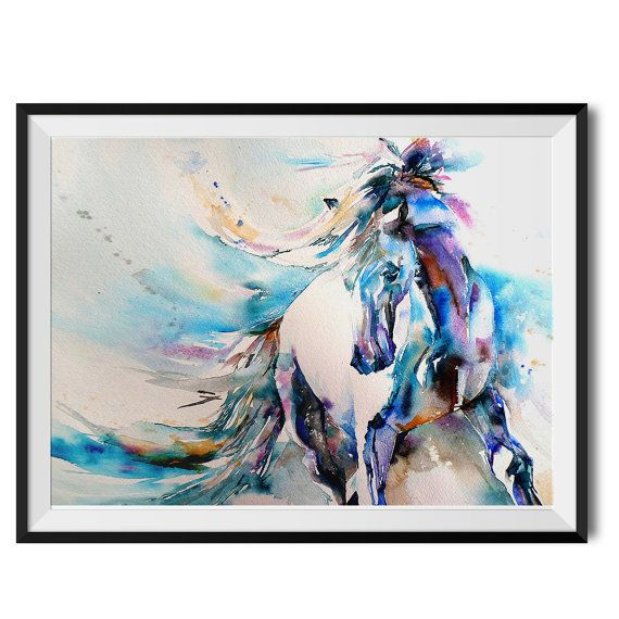 Spanish Horse, Original Giclee Watercolour Art Print by Liz Chaderton. Wall art, wall decor. Thank you for looking :)  PRINTS: Made to order on premium 230gsm matte, acid-free paper using vibrant 12-colour inks. Gallery-quality and include a 3mm border for framing. As beautifully vivid as the original work, I guarantee colours will last for decades.  FRAMES: Our black frames are hand-made from FSC-certified board and shatter-resistant styrene glaze. Packaged securely to arrive safely at your…