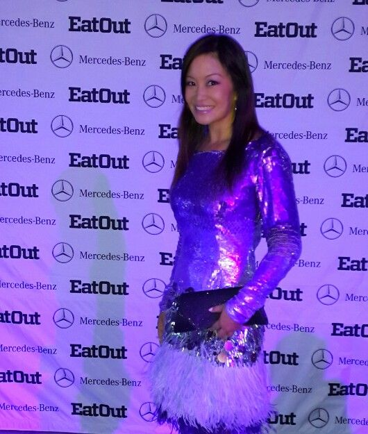 Eat Out Mercedes-Benz Restaurant Awards #EatOutAwards - Cape Town, South Africa.  Sequin and ostrich feather dress by Gavin Rajah.
