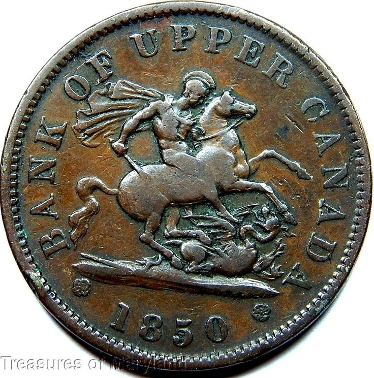"""""""St George the Dragon Slayer"""" 1850 BANK OF UPPER CANADA One Penny Sku #RE1"""