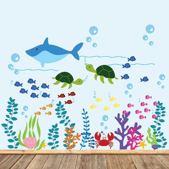 Vinyl Wall Decal Kids Dolphin Wall Decal Ocean by wallartdesign