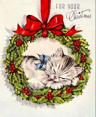 Sweet Christmas kitty. #vintage #christmas #card #kitten