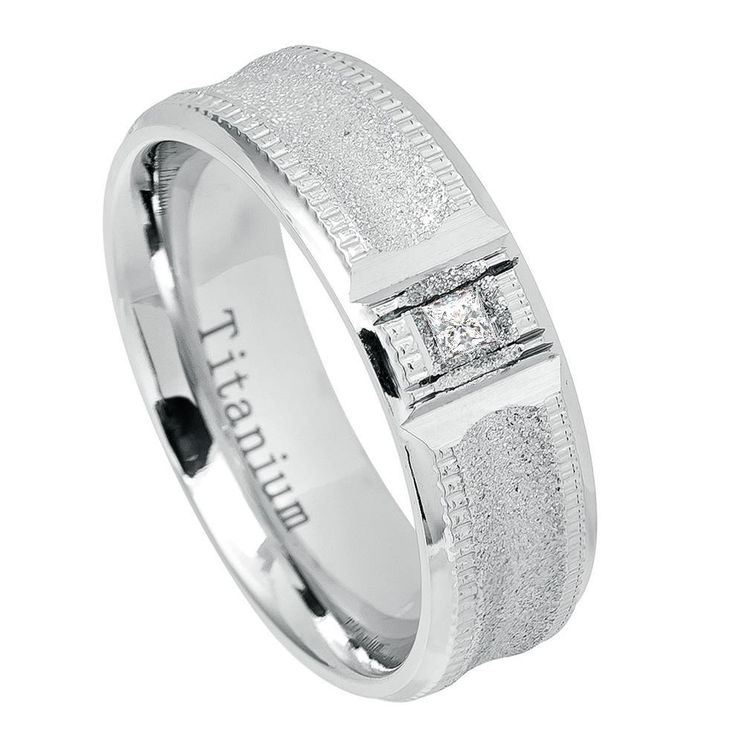 7mm Sandstone Finish White Titanium Ring Double Milgrain with Square Solitaire CZ