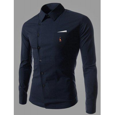 Novel Turn-down Collar Inclined Button Fly Slimming Deer Embroidery Long Sleeves Men's Shirt-10.93 and Free Shipping| GearBest.com
