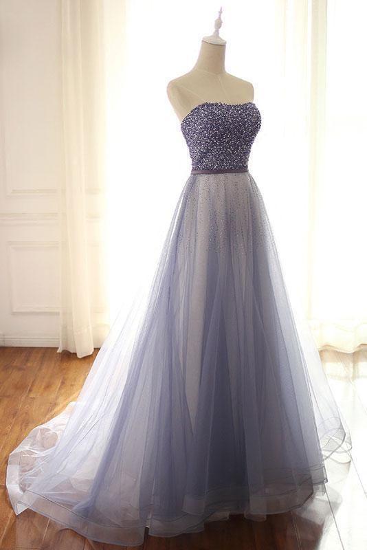 2018 trägerlosen blauen Perlen Tüll Abendkleid, A-Line Blue Abendkleider   – Prom dresses