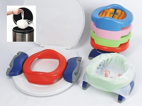 The Potette Portable Potty and Trainer takes the stress out of going into public with a recently potty-trained child.  This is perfect for those moments you're not near a toilet and your child needs to go. Get it here for $16.99.