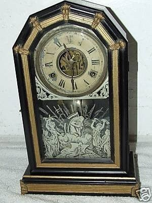 is a recent historic New England estate find. This is a Beautiful Rare Antique Ansonia  Flint  Black Mantel Shelf Clock , made by the Ansonia Clock Company USA and dates from around 1879 or so. This c