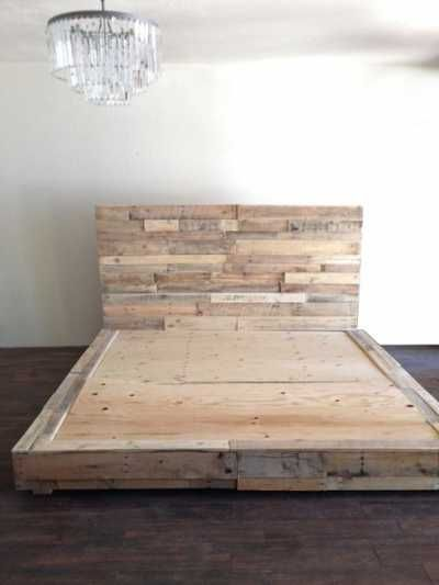 reclaimed wood platform bed base pallet natural twin full queen king cali king california foundation headboard beach house cabin by KaseCustom on Etsy https://www.etsy.com/listing/248609131/reclaimed-wood-platform-bed-base-pallet