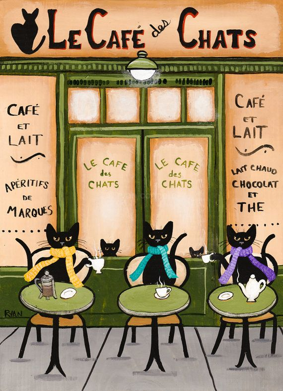 The Cats Parisian Coffee Cafe Original Folk Art Painting by KilkennycatArt