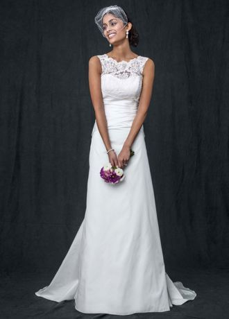 This taffetaA line wedding dress with illusion neckline exudes old world glamour with modern elements!   Taffeta A line gown features exquisite illusion lace neckline.  Flattering pleated bodice and stunning V back finish off the look.  Sweep train. Sizes 0-14.  Available in stores and onlinein Ivory. White available for Special Order in stores.  Petite: Style 7WG3529. Sizes 0P-14P.  Special order only.  Woman: Style 9WG3529. Sizes 16W-26W.  Select stores and special order.  Full...