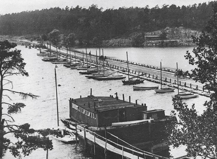 Gamla Tranebergsbro, från 1850-talet, västerut. - Stockholmskällan