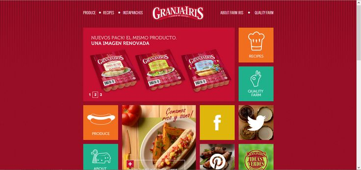 Granja Iris is a Spain's brand selling sausage and ham. The color template is all in pink because of the brand's packaging. They use the concept of window 8 to design the home page layout.