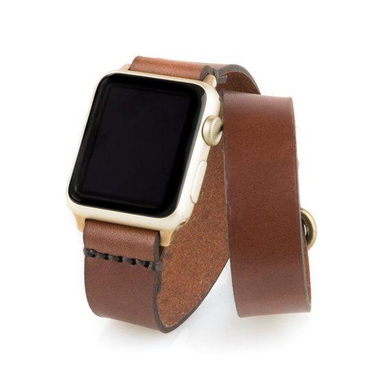 Apple Watch Tour doble banda  marrón medio  Cuero por ArrowandBoard