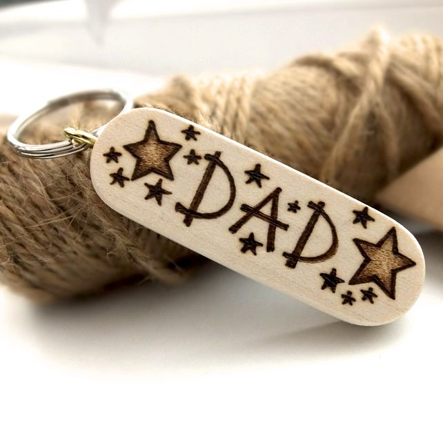Gift for Dad, Hand Burned Pyrography Wooden Star Keyring £8.50