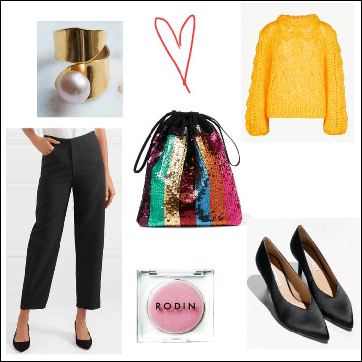 Dear santa... http://gabriellalundgren.com/dear-santa My Christmas look this year. Gold ring with pink freshwater pearl from House of Hennie, yellow knit from Ganni, Trousers from Totême, bag from Attico, satin heels from And Other Stories and lip balm from Rodin.