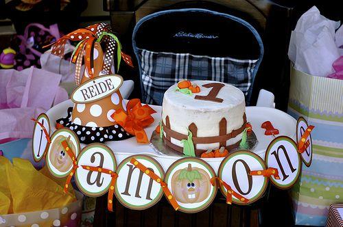 Pumpkin Patch 1st Birthday Party. cake