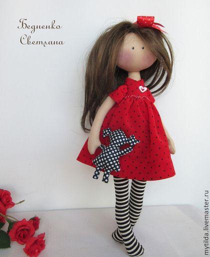 Купить Нэнси - ярко-красный, кукла ручной работы, кукла текстильная, подарок девушке
