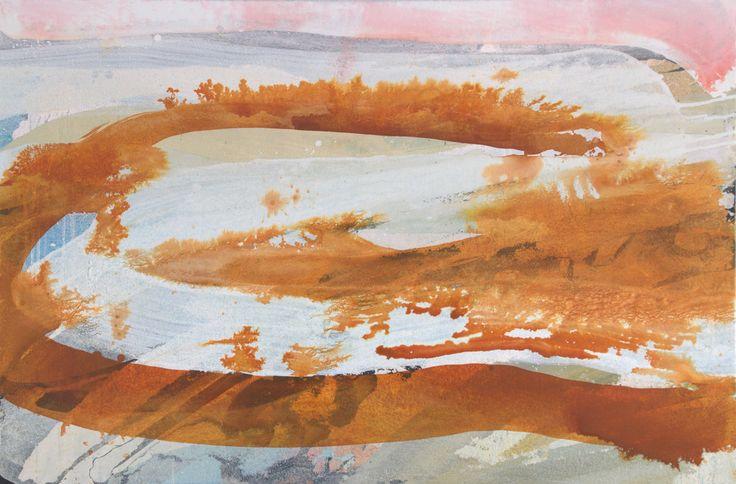 Henrie Vogel. Landschap 2. Ik vertaal het visueel gegeven -landschap- naar een schilderkunstig beeld: Kwaststrepen, licht/donker, gelaagdheid, richting en beweging. Ik werk op de grond en laat zoveel mogelijk de materie meewerken.
