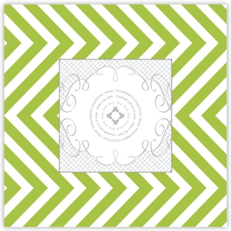 Pea Pod Paper and Gifts Lime and White Skinny Chevron Picture Frame - Picture Frames - Just for FUN! - Gifts