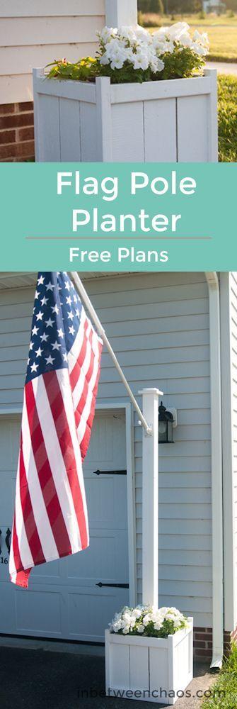 Build a Flag Pole Planter | inbetweenchaos.com