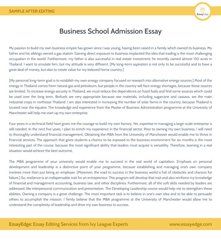 Admission Essay Editing Service Mba