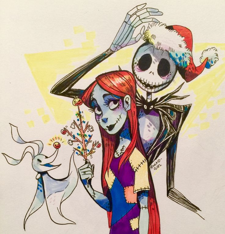 Inktober with a super quick Jack and Sally doodle :)