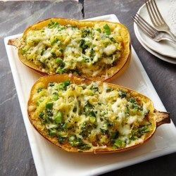 Spaghetti Squash Lasagna with Broccolini - EatingWell.com   Substitute cheese with Heidi Ho cashew cheese