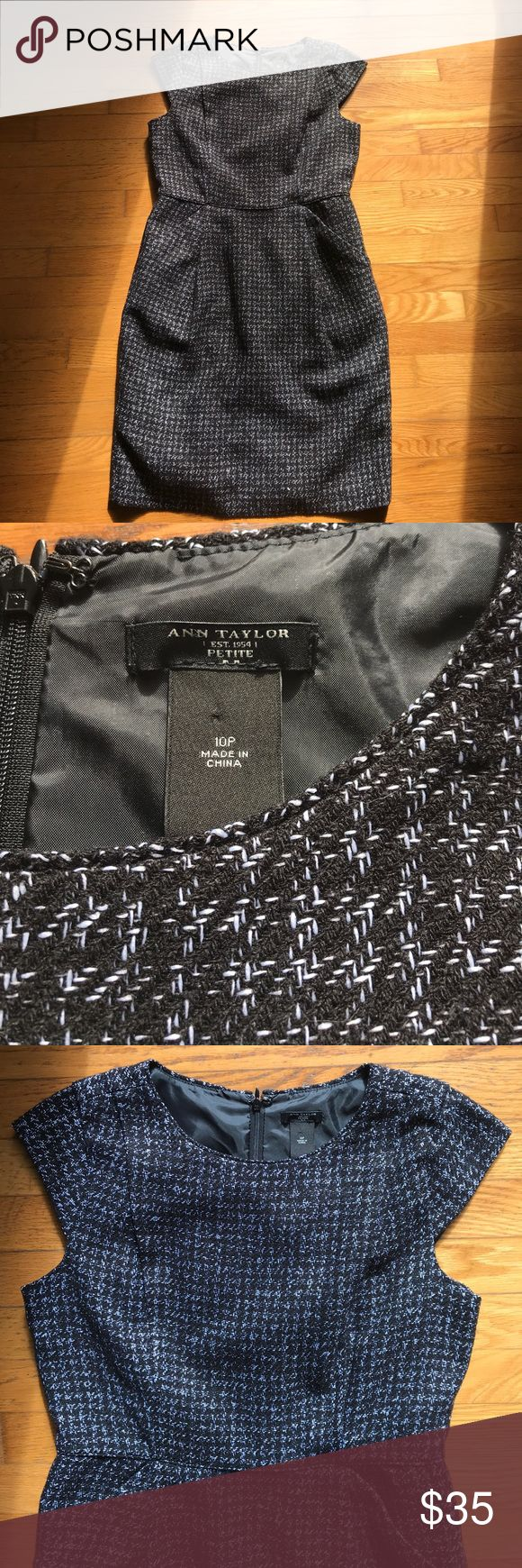 NWOT Ann Taylor 10p black Houndstooth empire dress So adorable, and new with out tags! 10 petite dress from Ann Taylor. Super classy and versatile! Perfect for a night out or at the office.  Cap sleeves and fully lined Ann Taylor Dresses Mini