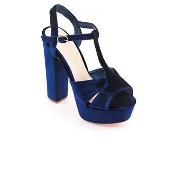 Ψηλό Βελουτέ Πέδιλο N2519 Μπλε