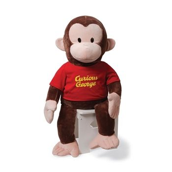 Jumbo Curious George Stuffed Animal with Red Shirt by Gund