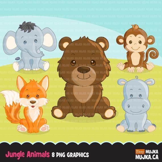 Jungle Animals Clipart Elephant Fox Monkey Bear And Hippo Graphics Baby Safari Kingdom Zoo Clip Art Animal Clipart Jungle Animals Safari Animals