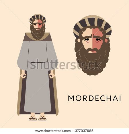 Flat vector bible character for Jewish Religion Holiday Purim, Mordechai puppet with costume, traditional symbol, The scroll of Esther - stock vector