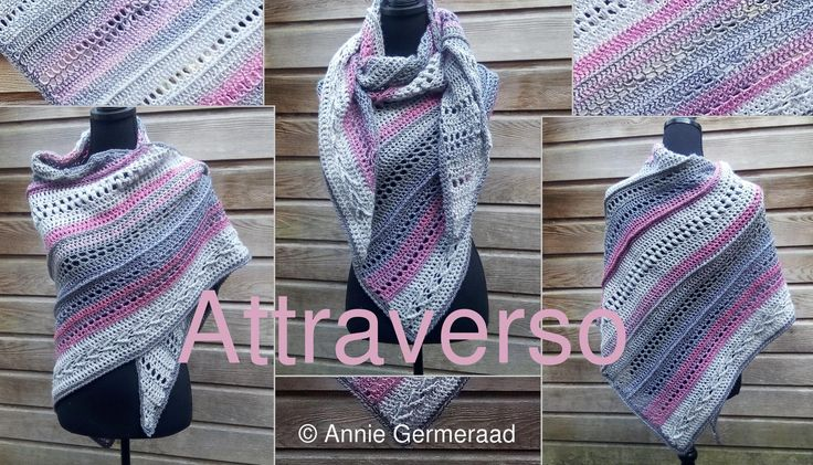 Eigen ontwerp van Annie Germeraad. Overdwars gehaakte driehoek shawl, vooral bedoeld om resten garen weg te werken :-)