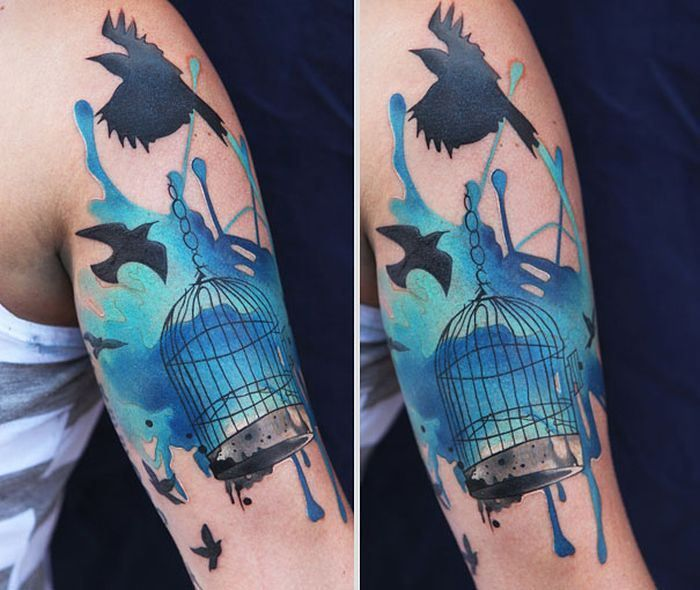 Free birds water colour tat