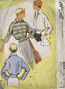 "Vintage Misses Jacket 50s Sewing Pattern McCall 8024 Sz 20 Bust 38 Waist 32"" Cut | eBay"