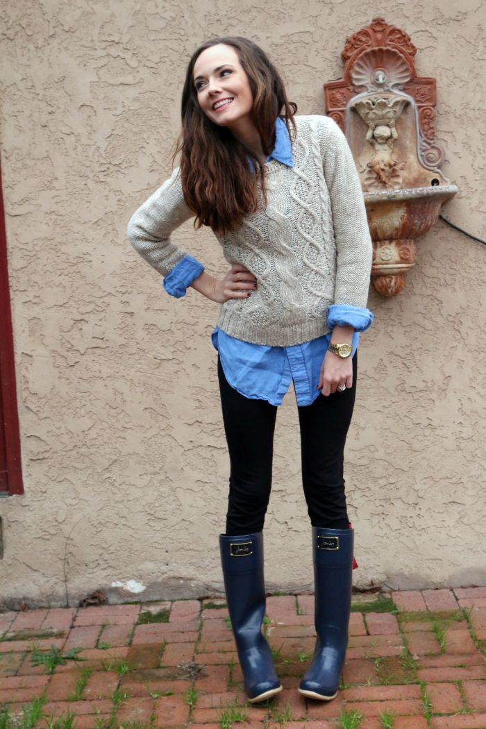 wellies, oversized button down and knit